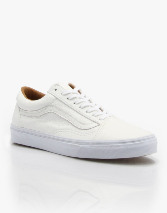 Vans Old Skool Skate Shoes - True White Premium Leather