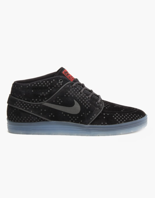 Nike SB Lunar Stefan Janoski Flash Mid Skate Shoes - Black/Black-Clear