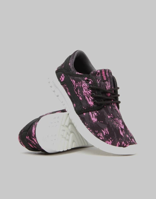 Etnies Scout Boys Skate Shoes - Black/Pink/Print