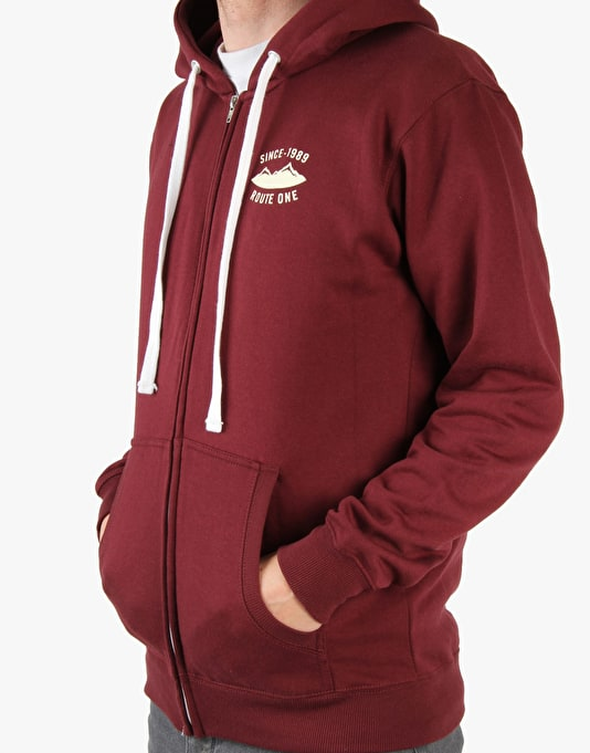 Route One Bear Mountains Zip Hoodie - Burgundy