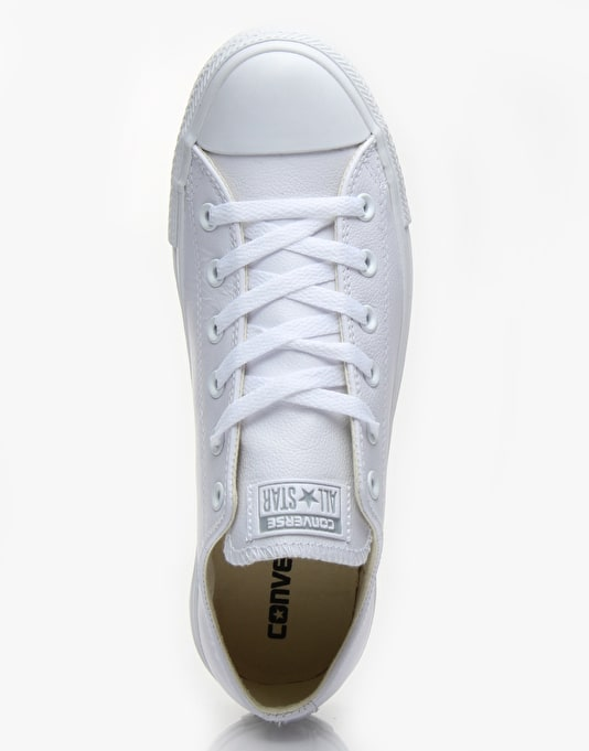 Converse Chuck Taylor All Star Low Leather Trainers - White Monochrome