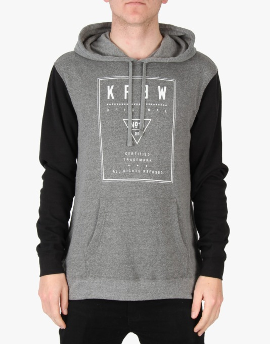 Kr3w Label Pullover Hoodie - Grey Heather/Black