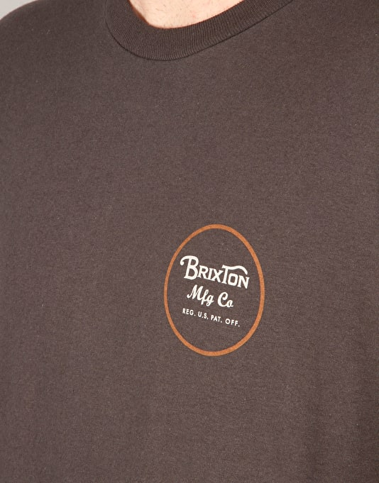 Brixton Wheeler II S/S T-Shirt - Heather Grey/Burgundy