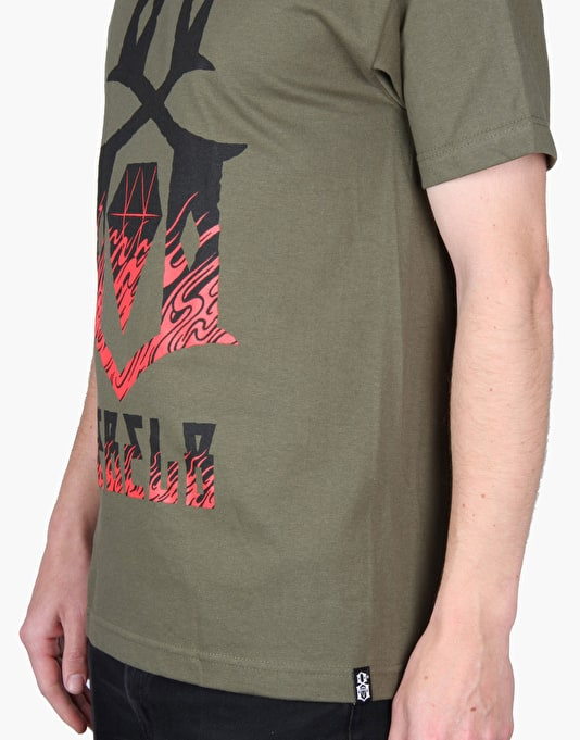 Rebel8 Doom Up In Flames T-Shirt - Army