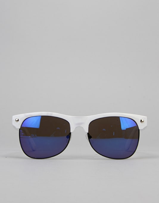 Glassy Sunhater Shredder Sunglasses - White/Blue Mirror