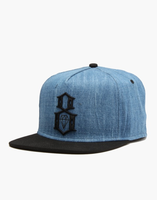 Rebel8 Logo Snapback Cap - Denim