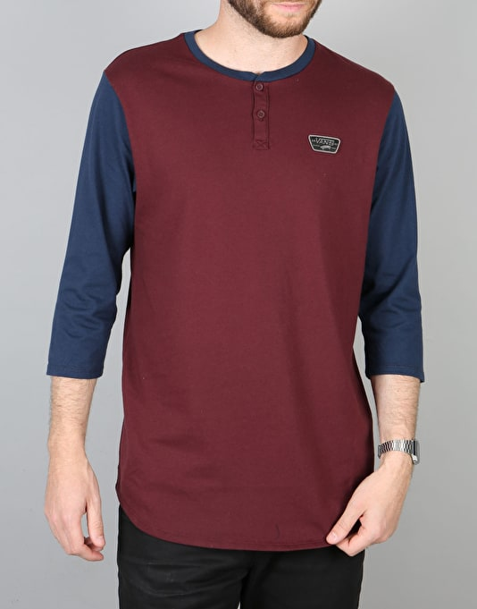 Vans Cajon L/S Henley T-Shirt - Port Royale/Dress Blue