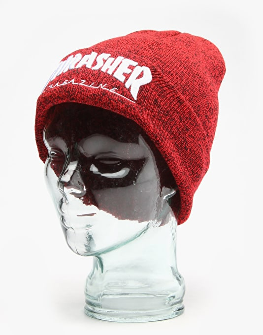 Thrasher Embroidered Logo Beanie - Red/Black Heather