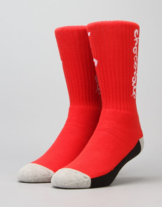 HUF x Chocolate Crew Socks - Red
