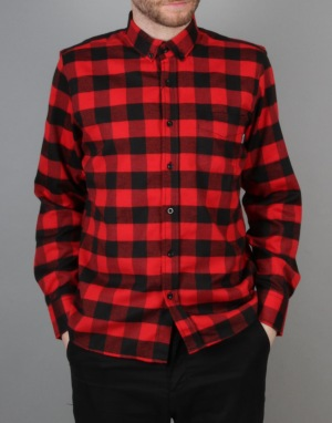 Route One Buffalo Check Flannel Shirt - Red/Black