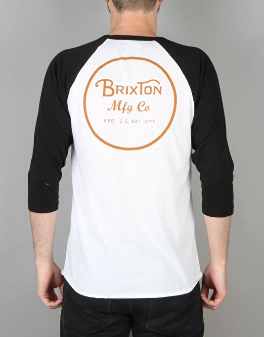 Brixton Wheeler 3/4 Raglan T-Shirt - White/Burnt Orange