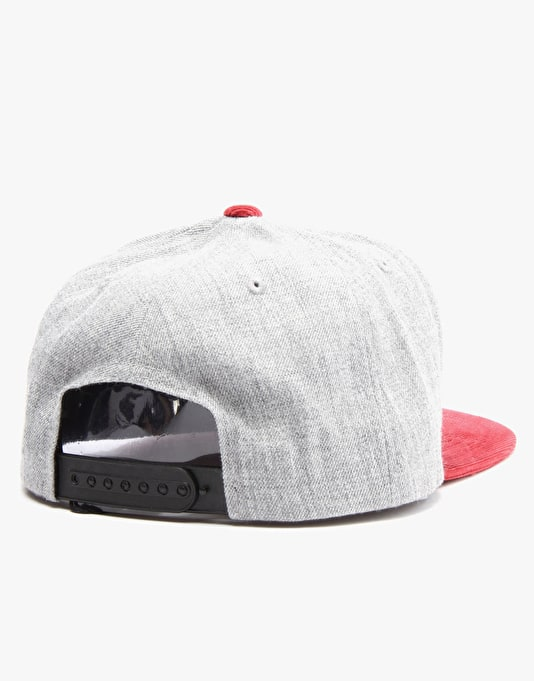 Brixton Oath III Snapback Cap - Heather Grey/Burgundy