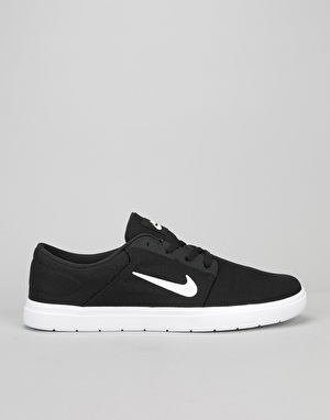 Nike SB Portmore Ultralight Skate Shoes - Black/White-Black
