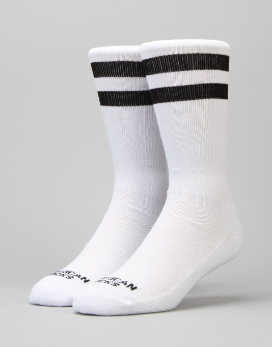 American Socks Old School I Mid High Socks - White/Black