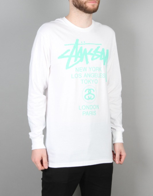 Stüssy S World Tour L/S T-Shirt - White/Green
