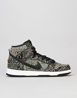 Nike SB Dunk High Premium Skate Shoes - Black/Black-Rainbow-White