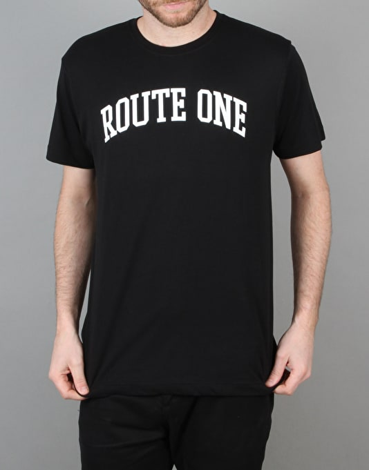 Route One College Logo T-Shirt - Black