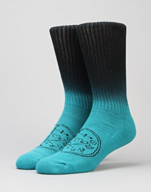 Welcome Sigil Dip-Dye Socks - Teal/Black