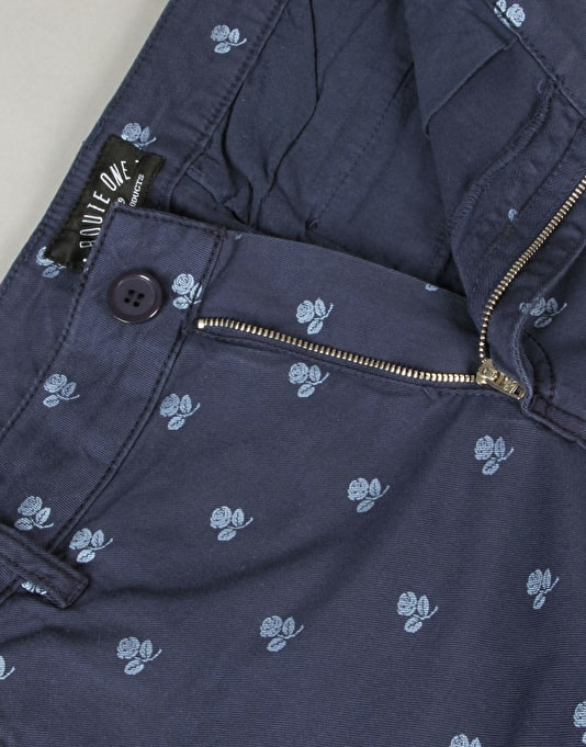 Route One Rose Printed Chino Shorts - Navy