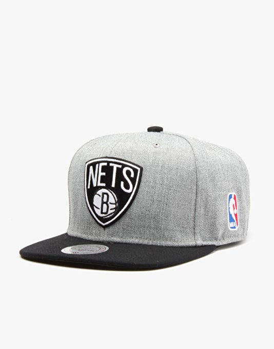 Mitchell & Ness NBA Brooklyn Nets Team Pop Snapback Cap - Grey/Black