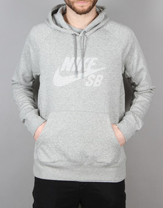 Nike SB Icon Stripe Pullover Hoodie - Dk Grey Heather/White