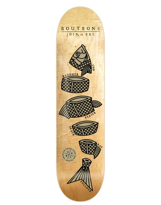 Route One Join or Fry Skateboard Deck - 8""