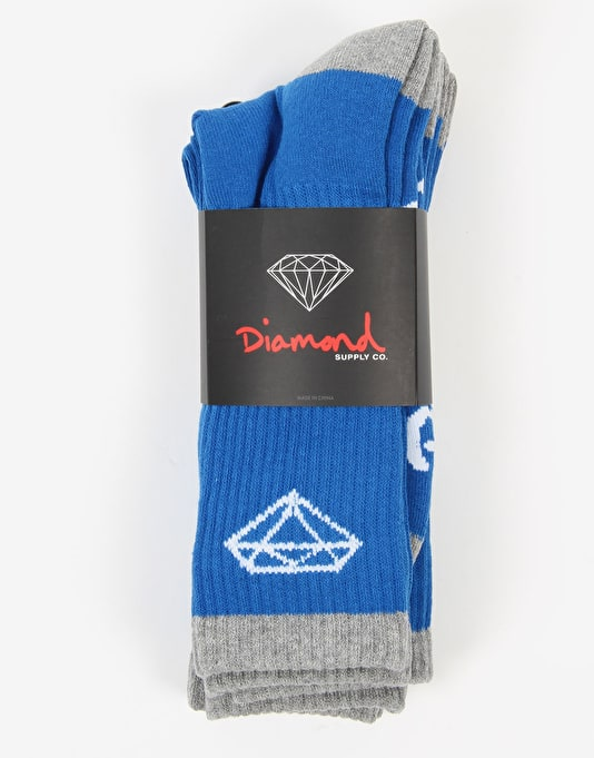 Diamond Supply Co. 3-Pack Stripe Socks - Royal