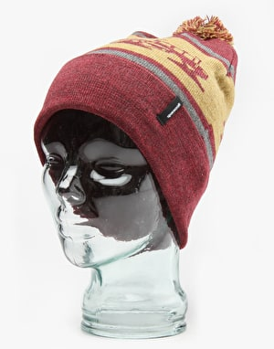 Spacecraft Snowcat Pom Beanie - Dark Red