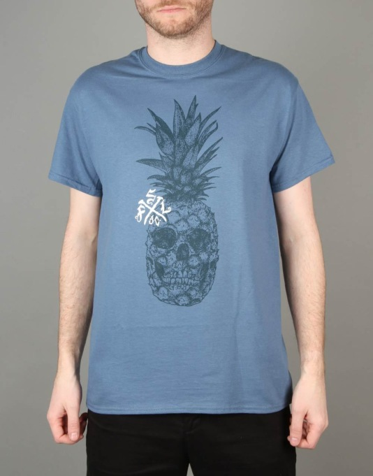 Scarred For Life Pineskull T-Shirt - Indigo Blue