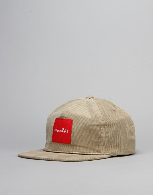 Chocolate Red Square Cord Snapback Cap - Tan