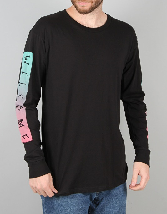 Welcome Scrawl Bar L/S T-Shirt - Black/Pink/Teal