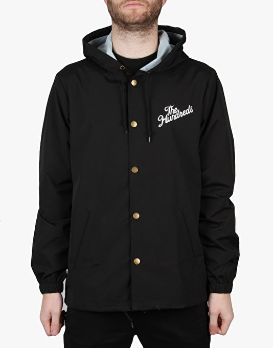 The Hundreds Slant Logo Hooded Coach Jacket - Black