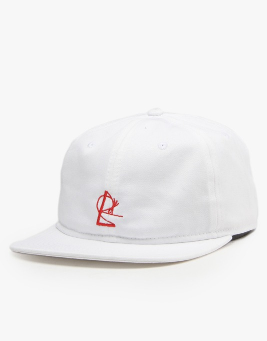 Isle 6 Panel Snapback Cap - White/Red