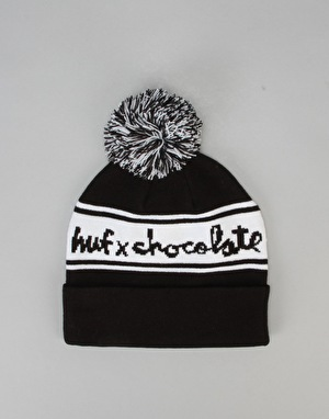 HUF x Chocolate Chunk Pom Bobble Beanie - Black