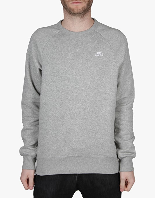 Nike SB Icon Crew Sweatshirt - Dk Grey Heather/White
