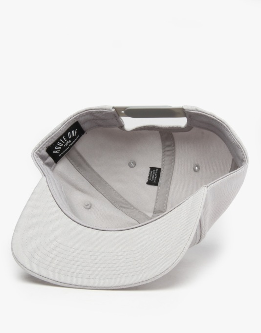 Route One Box Logo Snapback Cap - Steel