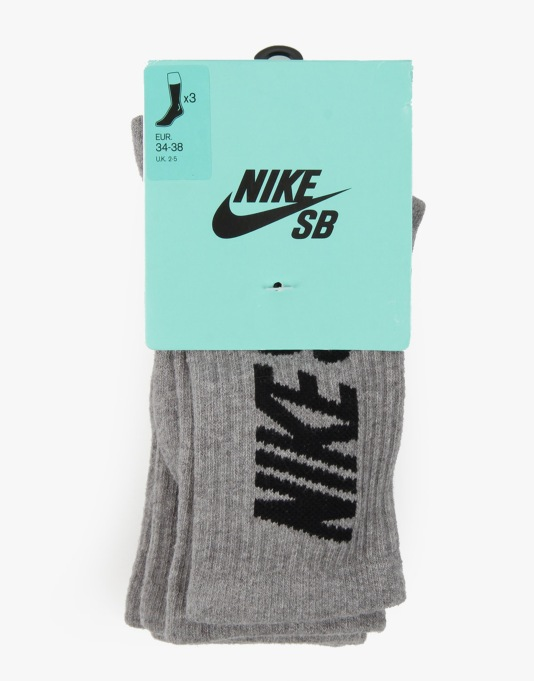 Nike SB Crew Socks 3 Pack - Heather Grey/Black