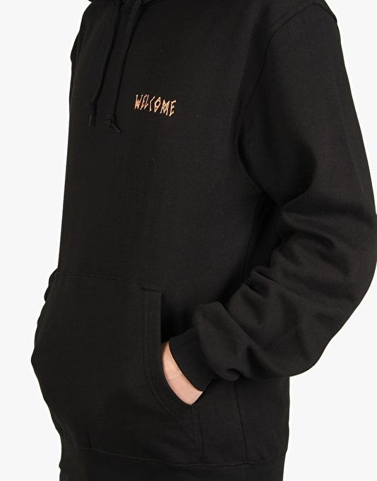 Welcome Tasmanian Midweight Pullover Hoodie - Black/Peach
