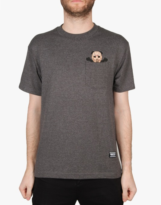 Grizzly Nightmare Bear Pocket T-Shirt - Charcoal Heather