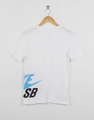 Nike SB Wrap Around Logo Boys T-Shirt - White/Royal Blue
