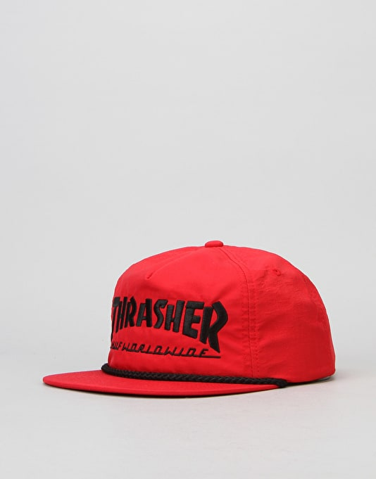 HUF x Thrasher Collab Logo Snapback Cap - Red