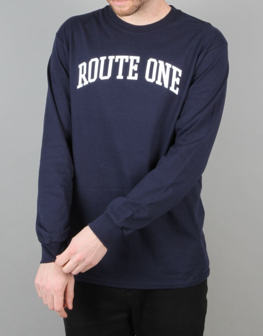 Route One College Logo LS T-Shirt - Flat Navy