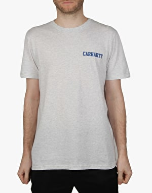 Carhartt S/S College Script LT T-Shirt - Ash Heather/Blue