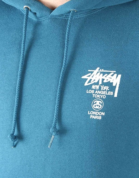 Stüssy World Tour Pullover Hoodie - Blue