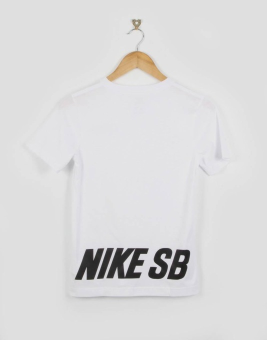 Nike SB Word Mark Boys T-Shirt - White/Black