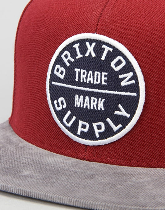 Brixton Oath III Snapback Cap - Burgundy/Light Heather