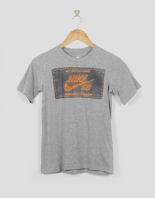 Nike SB Woven Label Boys T-Shirt - Dark Grey Heather