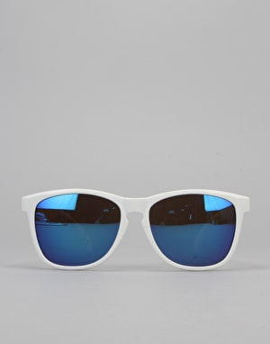 Glassy Sunhater Deric Sunglasses - White/Blue Mirror