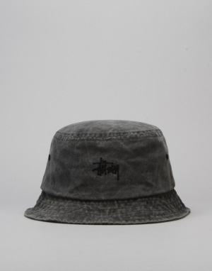 Stüssy Smooth Stock Enzyme Wash Bucket Hat - Black