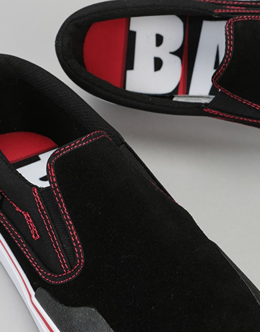 DC x Baker Trase Slip-On RT Skate Shoes - Black/Red/White